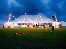 peg and pole hire marquee night time
