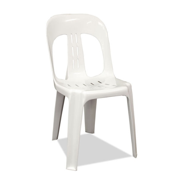 White plastic stackable armless chair marquee hire wedding tent rentals event hire party - Witte plastic stoel ...
