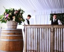 wine barrels with bar