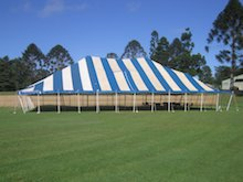blue white peg and pole hire marquee