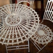 white vintage table two chairs tall for hire
